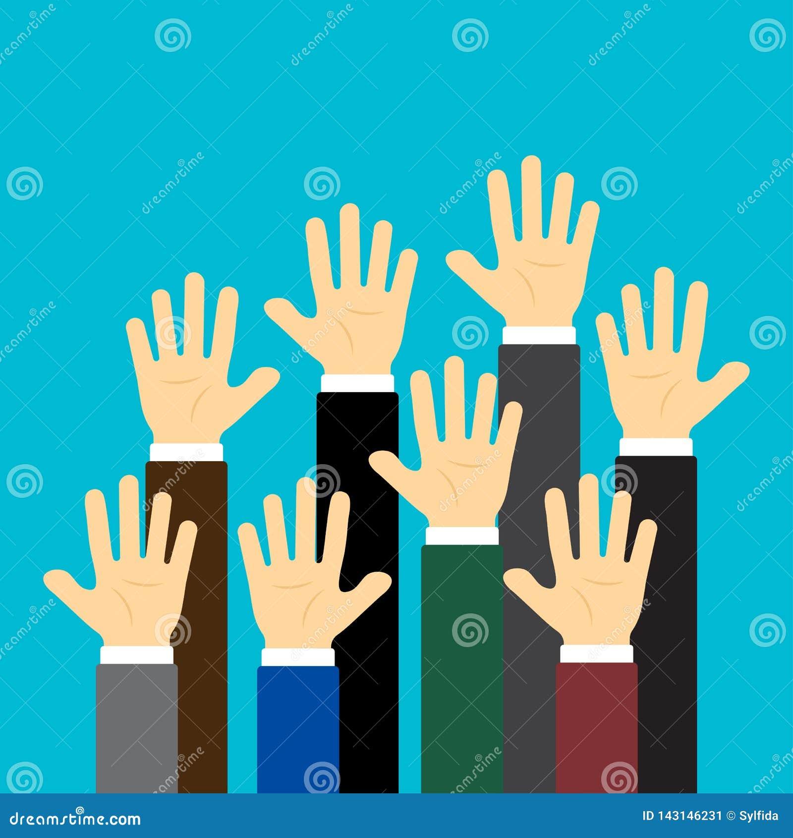 Lyftta upp händer på blå bakgrund ocks? vektor f?r coreldrawillustration
