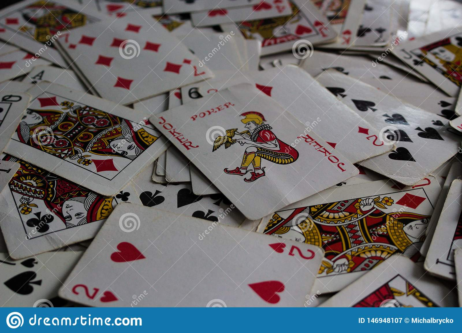 Lying cards with the selected card on top as a joker lady