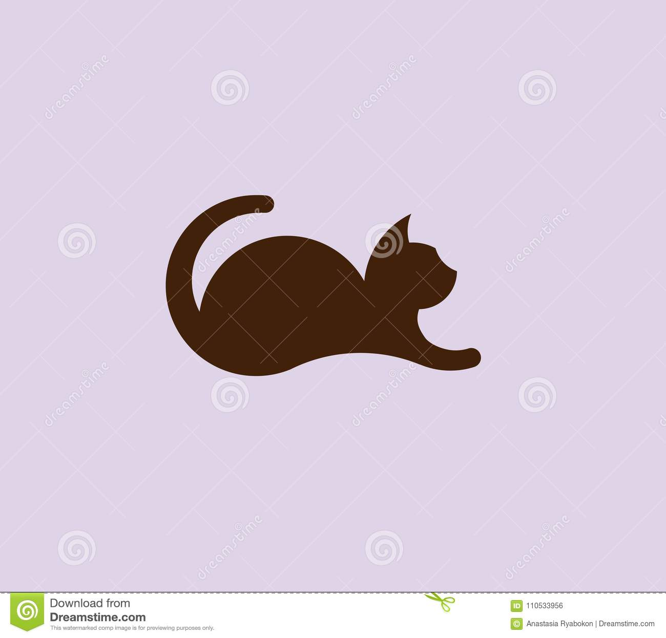 Lying cat logo design vector