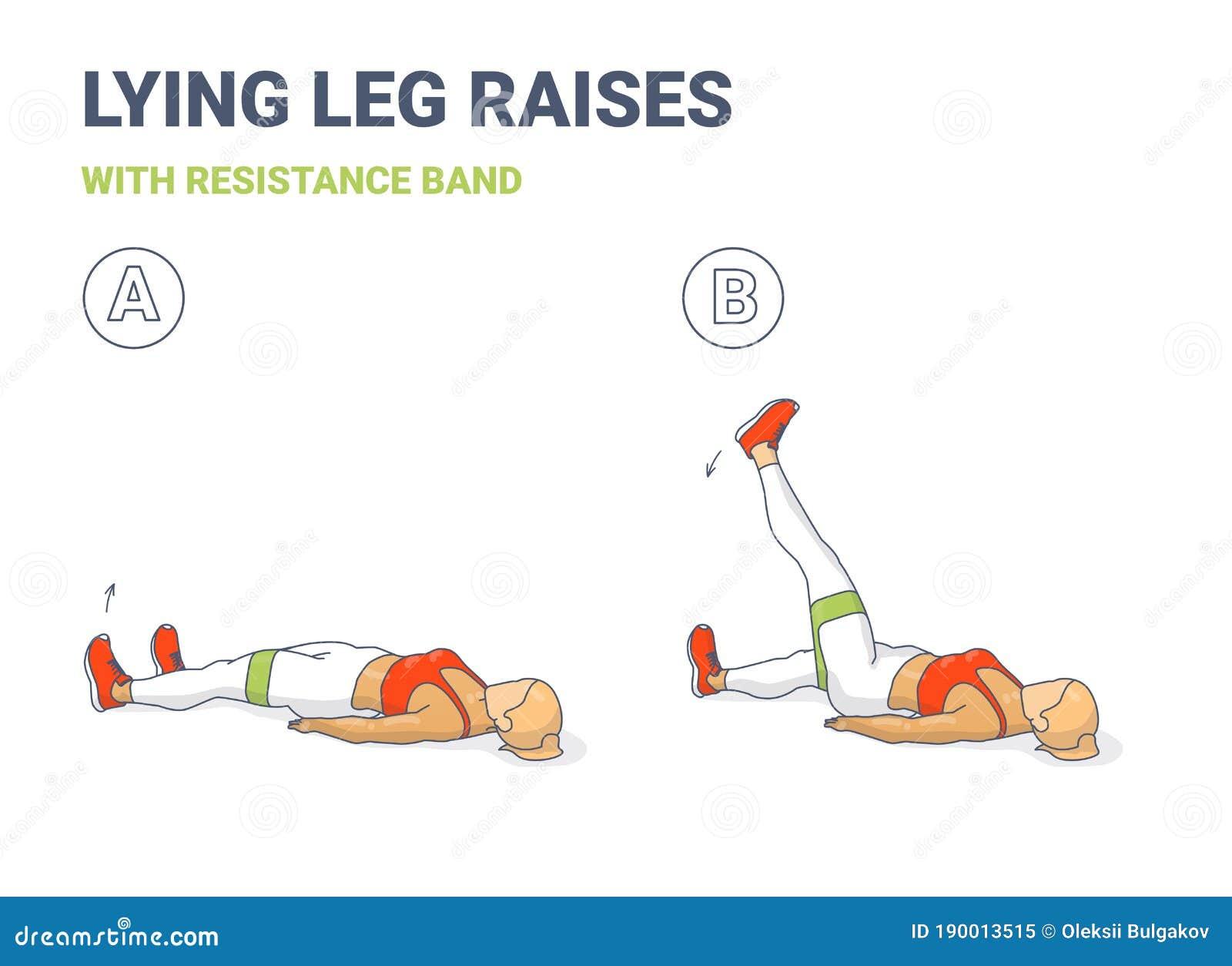 Lying Leg Lifting with Resistance Band Exercise Illustration ...