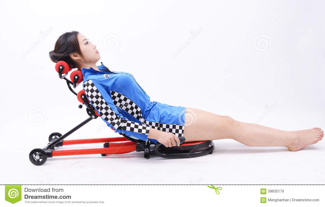 Lying posture fitness equipment for home stock photo