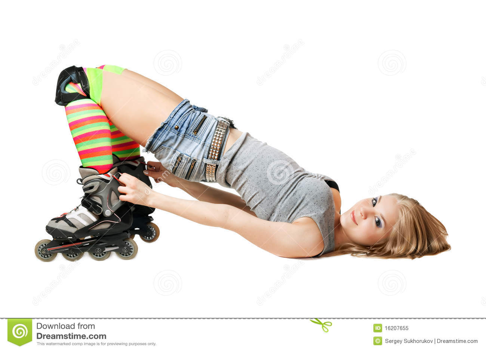Roller skates for free - Lying Pretty Girl In Roller Skates Royalty Free Stock Photo