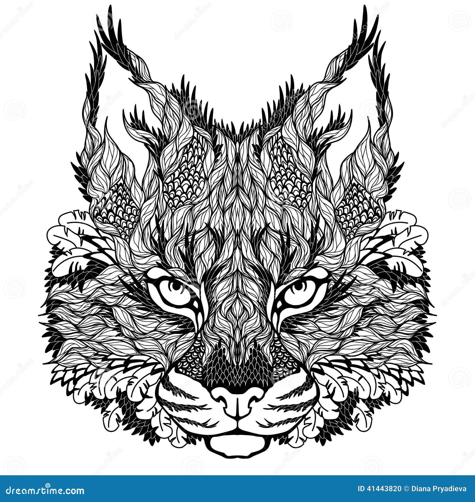 Lynx Tatouage Tete De Chat Sauvage Psychedelique Illustration De