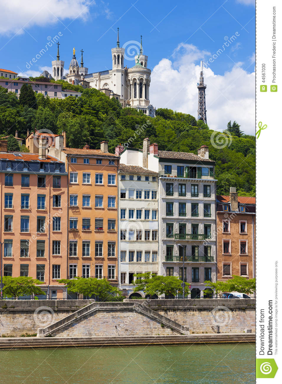 Lyon cityscape from saone river stock photo image 44567030 for Agence paysage lyon