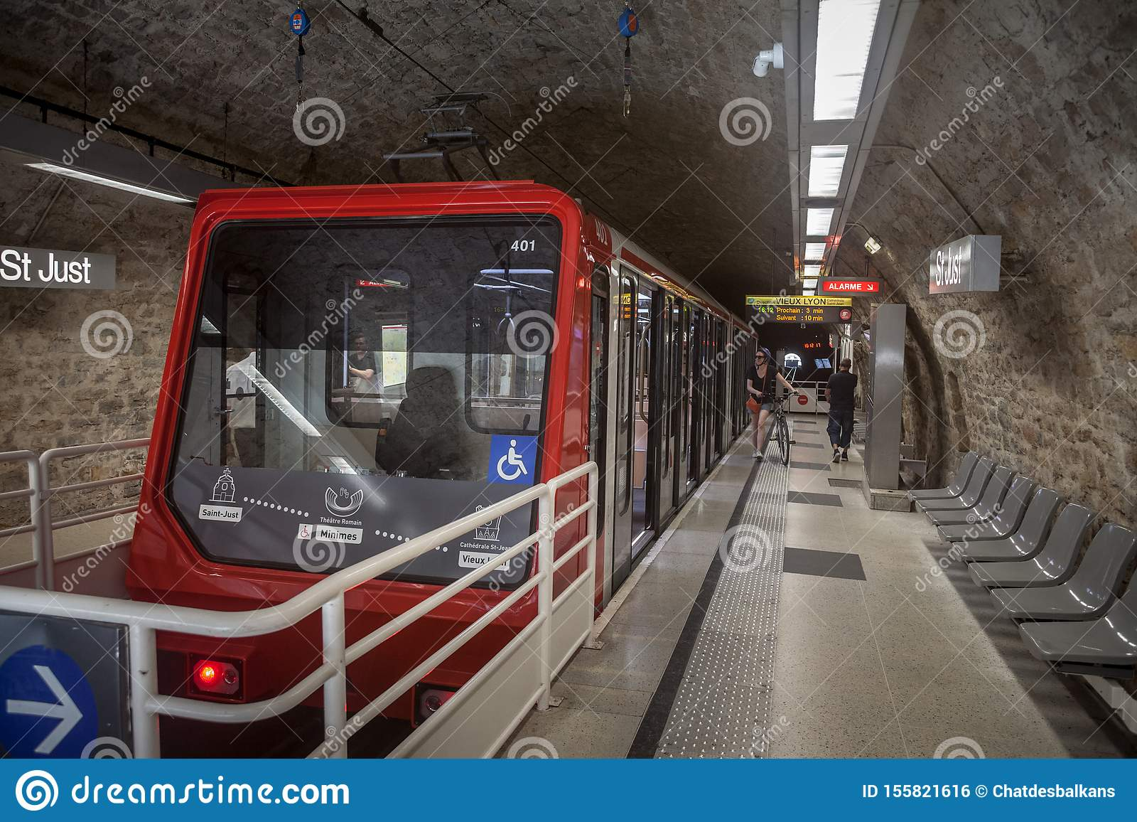 Lyon Funicular Railway Train Entering The Station Of St Just