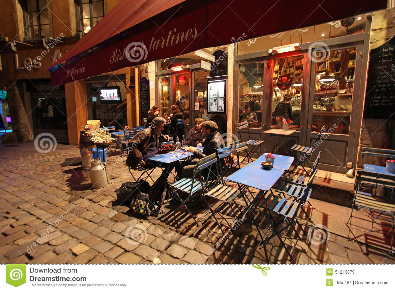 lyon restaurants by night france editorial stock image image 51213879. Black Bedroom Furniture Sets. Home Design Ideas