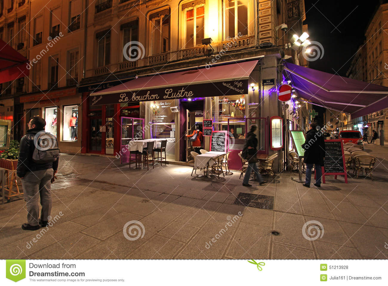 lyon restaurants by night france editorial stock photo image 51213928. Black Bedroom Furniture Sets. Home Design Ideas