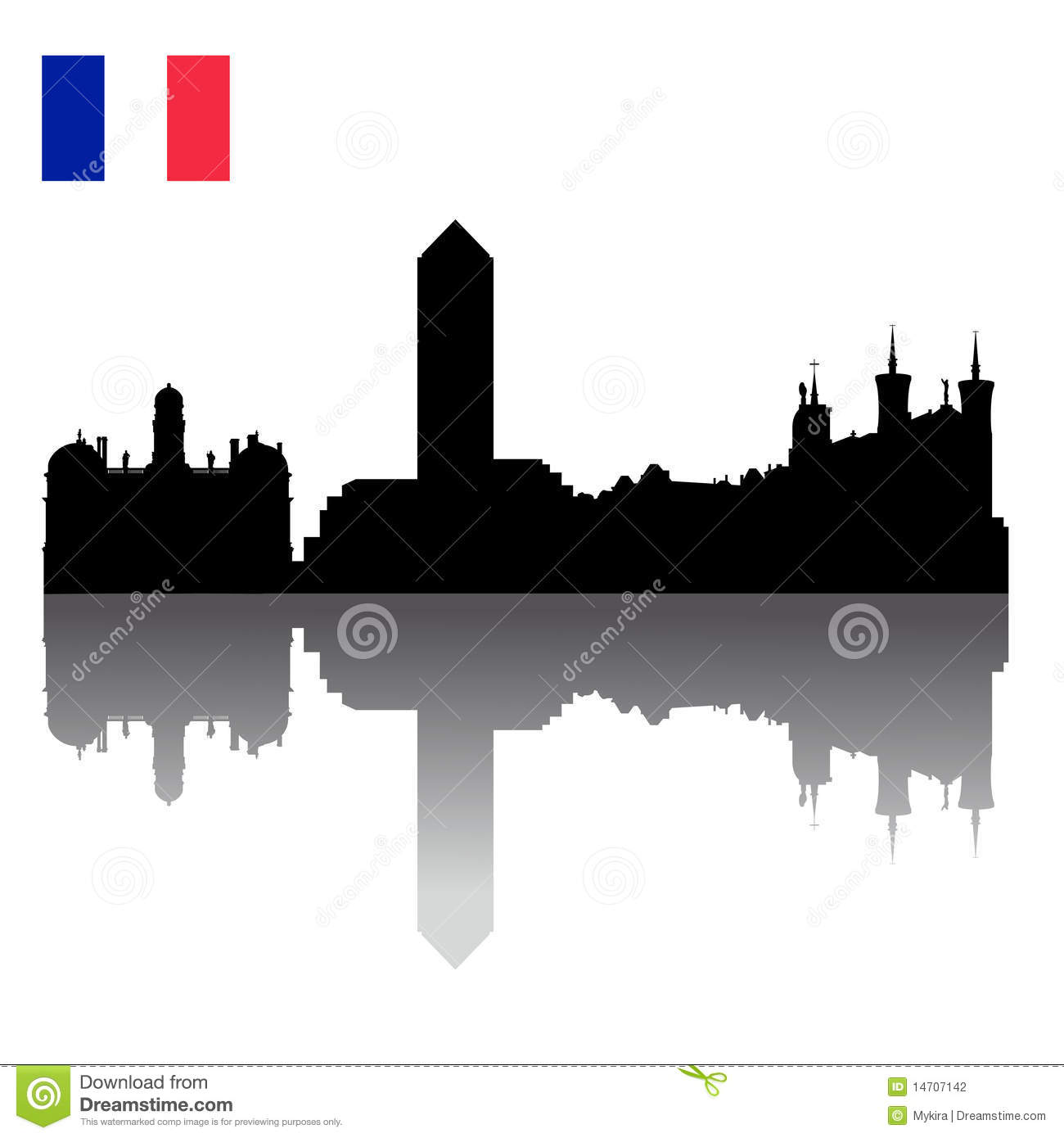 Lyon silhouette skyline with french flag