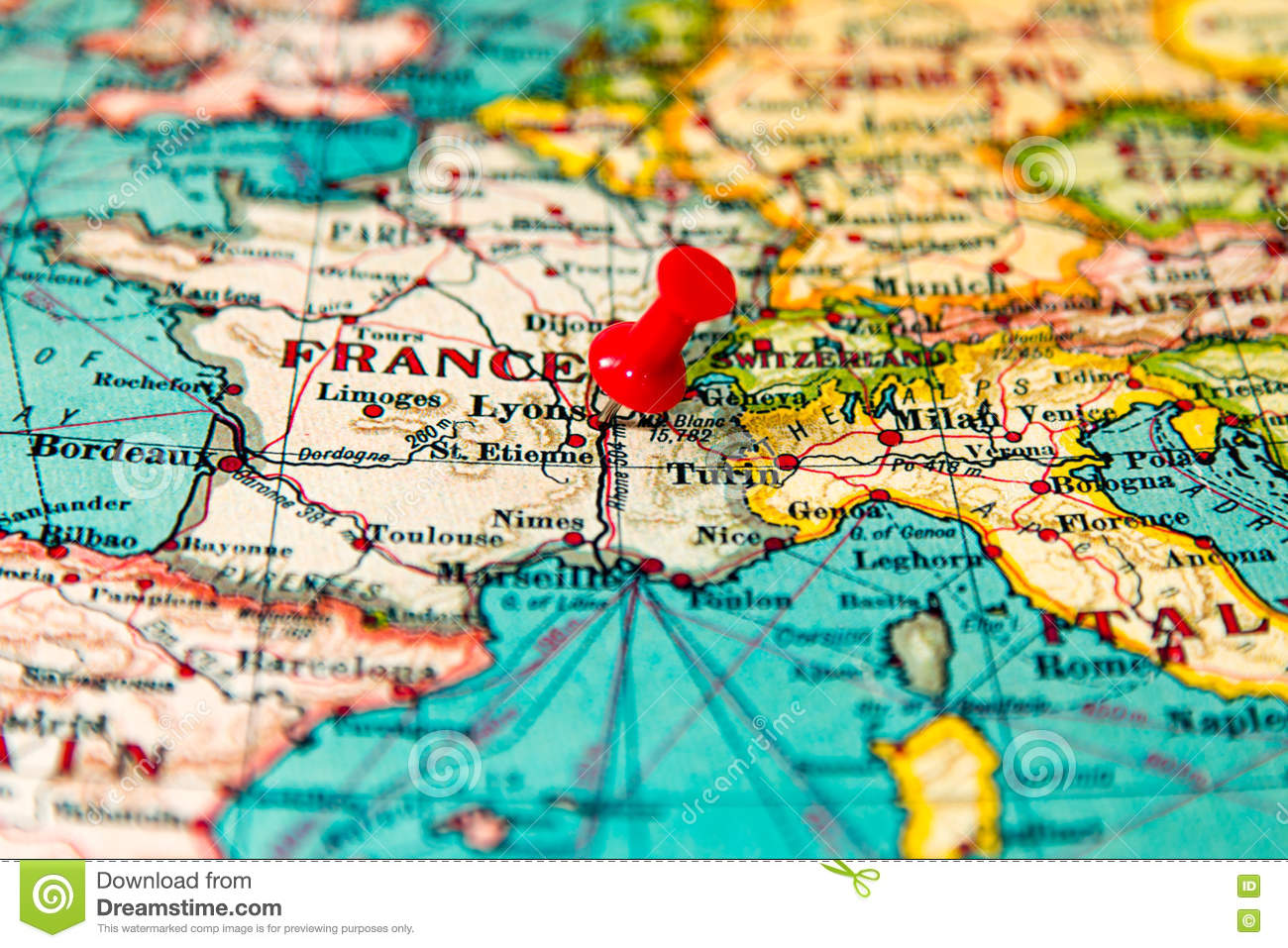Lyons France Pinned On Vintage Map Of Europe Stock Photo Image Of