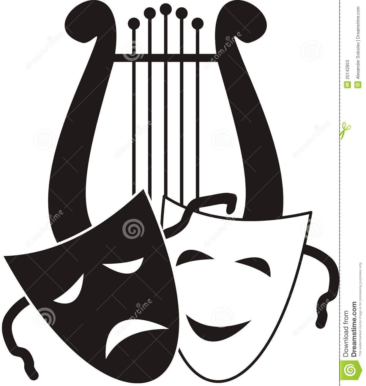 lyre and masks stock photos image 20142853 Comedy and Tragedy Masks theater masks clipart black and white