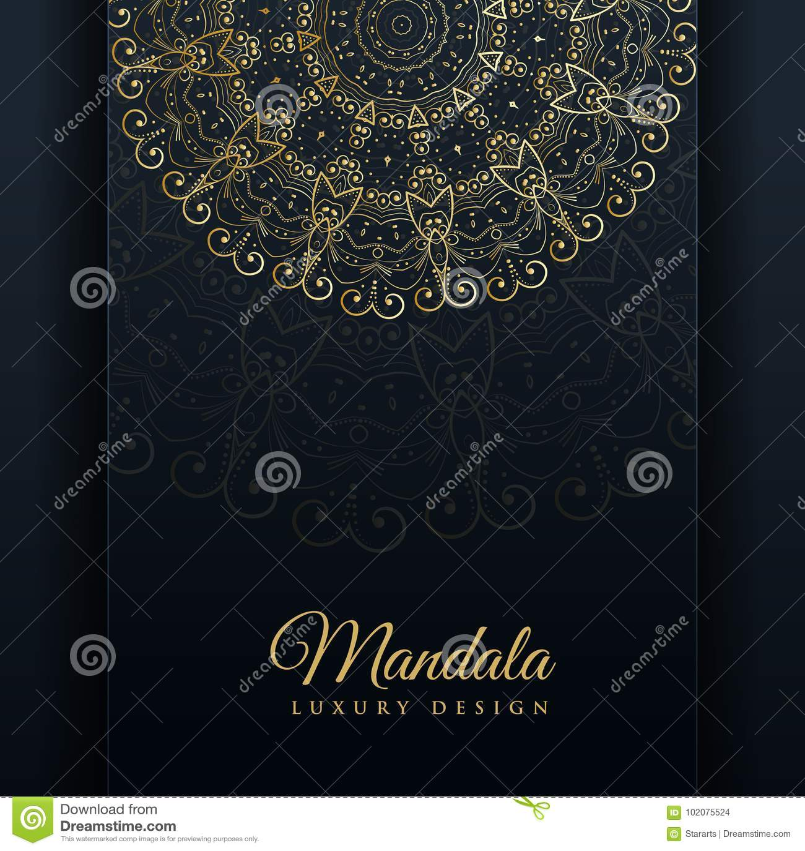 Lyxig dekorativ mandaladesignbakgrund i guld- färg