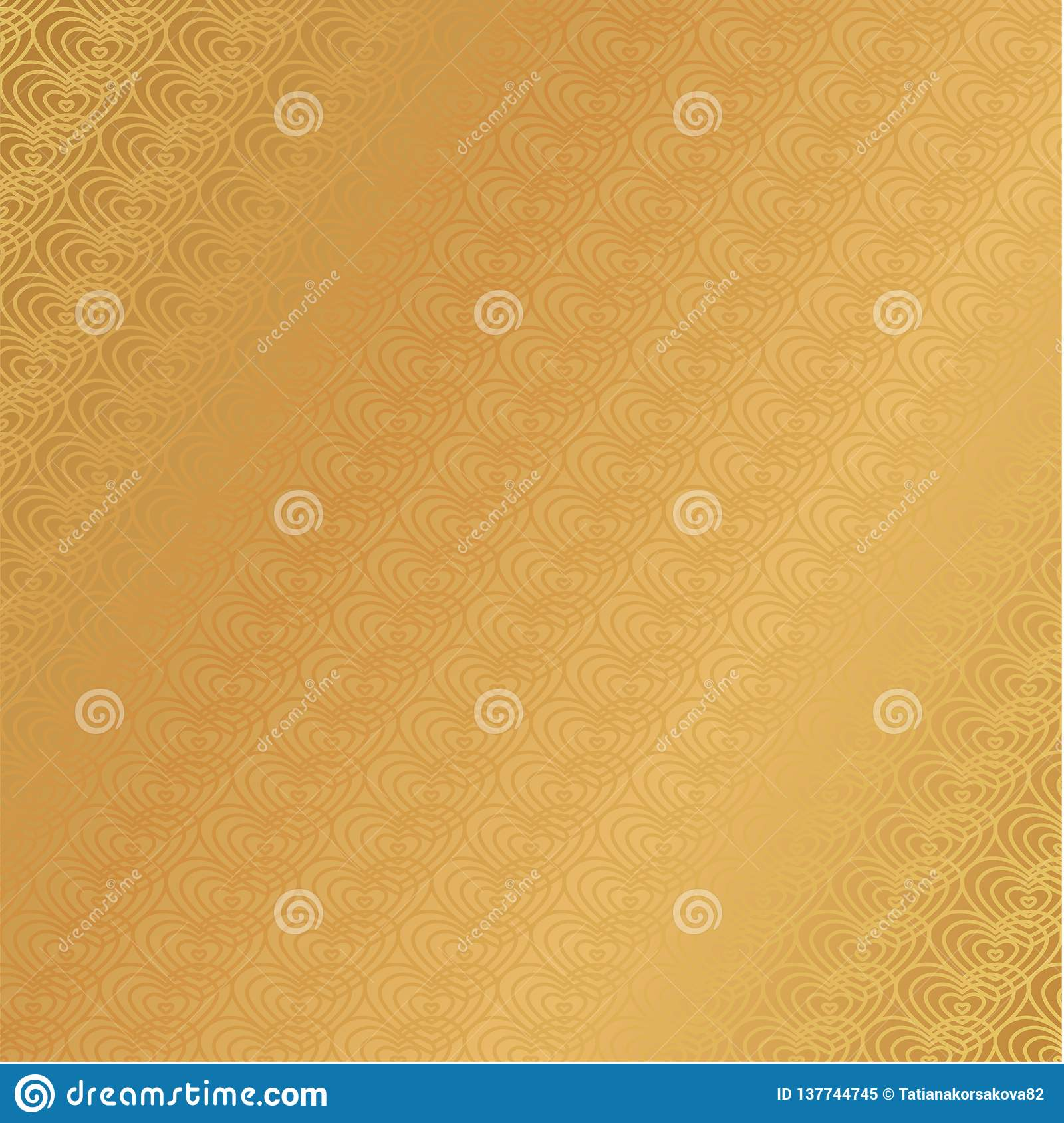 Lyxig guld- modell för hjärta för bakgrundsövergångstapet