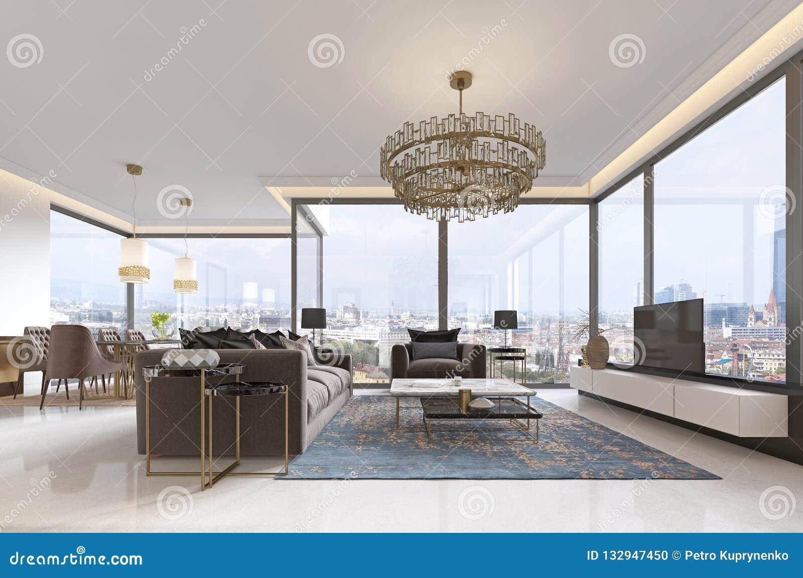 Lyxig inre av modern stil för vardagsrum med TVenheten, soffan, fåtöljer, kaffetabellen och den äta middag tabellen med kök