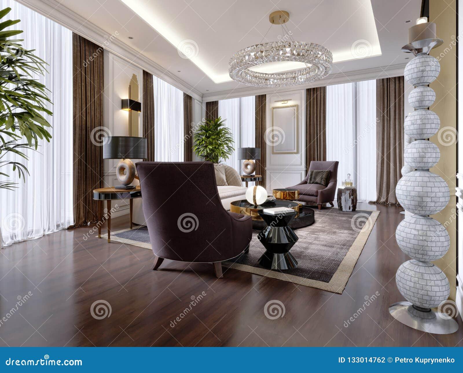 Lyxig vardagsrum i modern stil med soffan, fåtölj, märkes- möblemang, TVställning, stor dekorativ ljusstake, runda