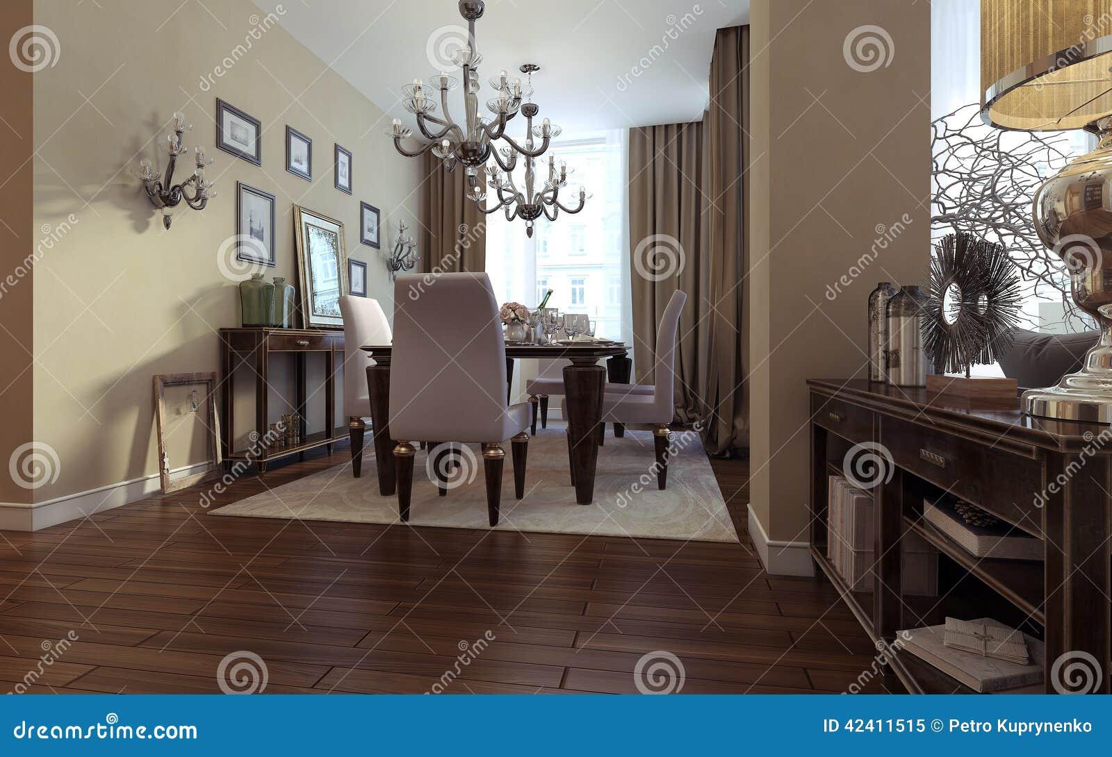 Lyxig vardagsrum, matsal, art décostil stock illustrationer   bild ...