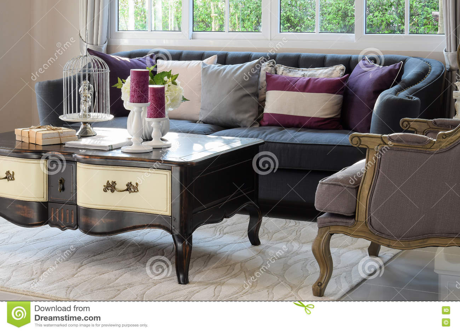 Lyxig vardagsrum med den klassiska soffan och fåtöljen arkivfoto ...