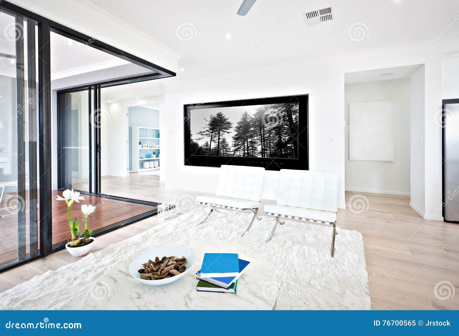Lyxig vardagsrum- och exponeringsglasdörringång till insidan