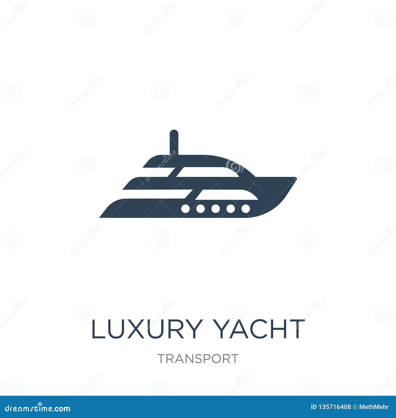 Lyxig yachtsymbol i moderiktig designstil lyxig yachtsymbol som isoleras på vit bakgrund lyxig enkel yachtvektorsymbol och