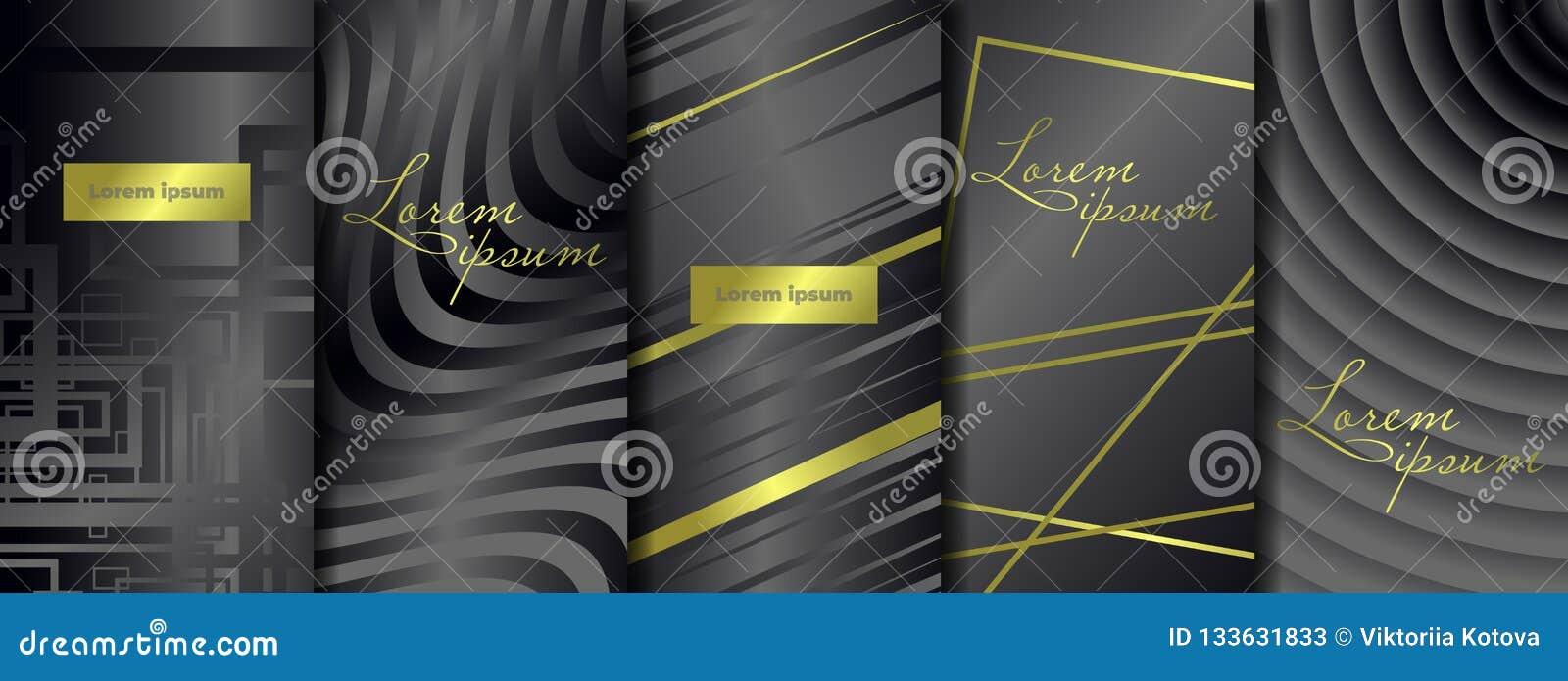 Lyxiga högvärdiga förpackande mallar Fastställda förpackande mallar för vektor med olik textur för lyxiga produkter