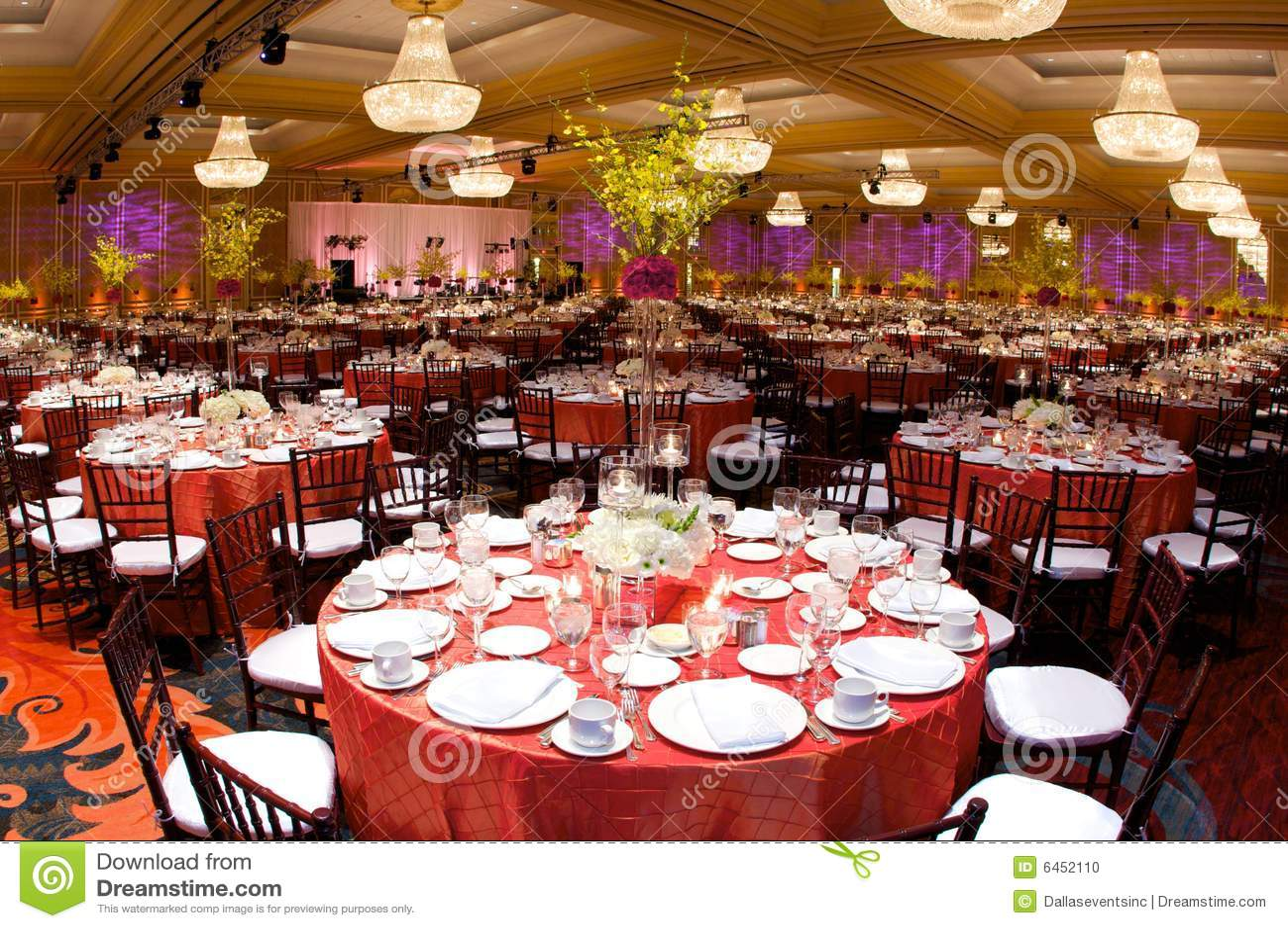 Lyxigt bröllop för mottagandeinställningstabell