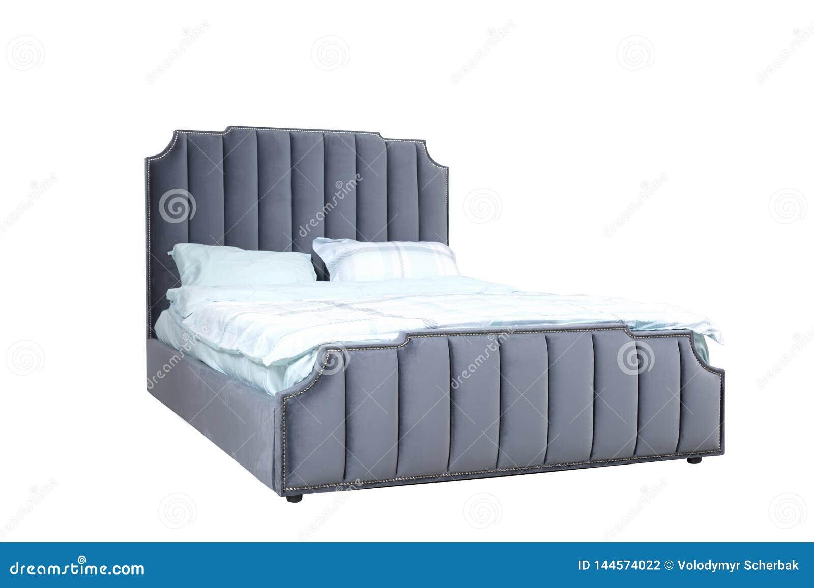 Lyxigt grått modernt sängmöblemang med sängkläder för huvudgavel och för tyg för stoppningcapitonetextur Klassiskt modernt möblem
