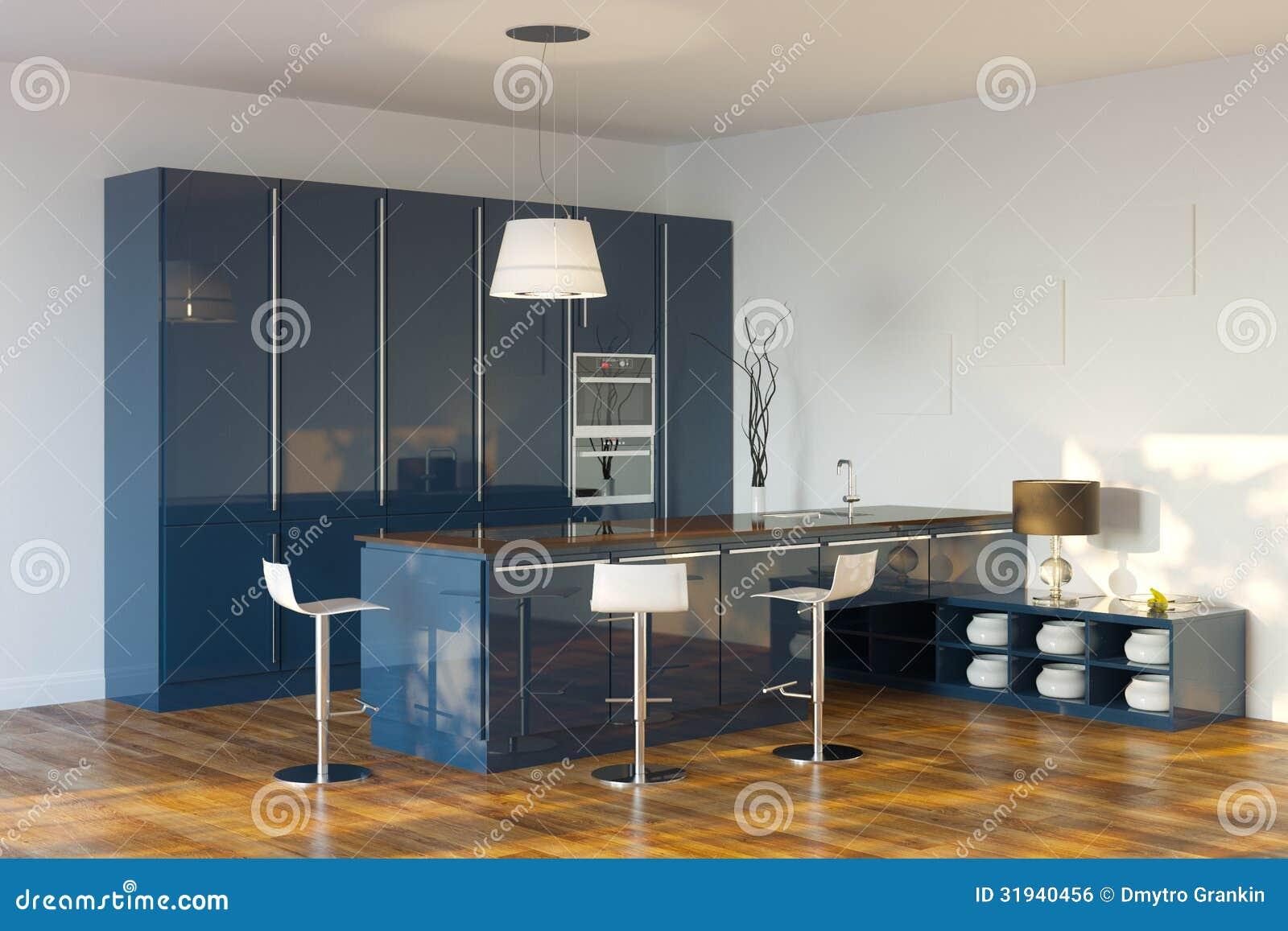 Lyxigt högteknologiskt mörker   blått kök (perspektivsikten ...