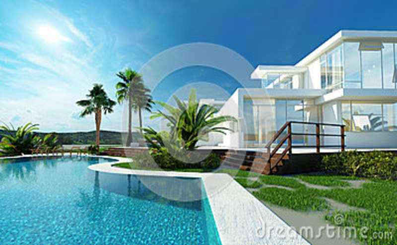 Lyxigt hus med en tropisk trädgård och pöl