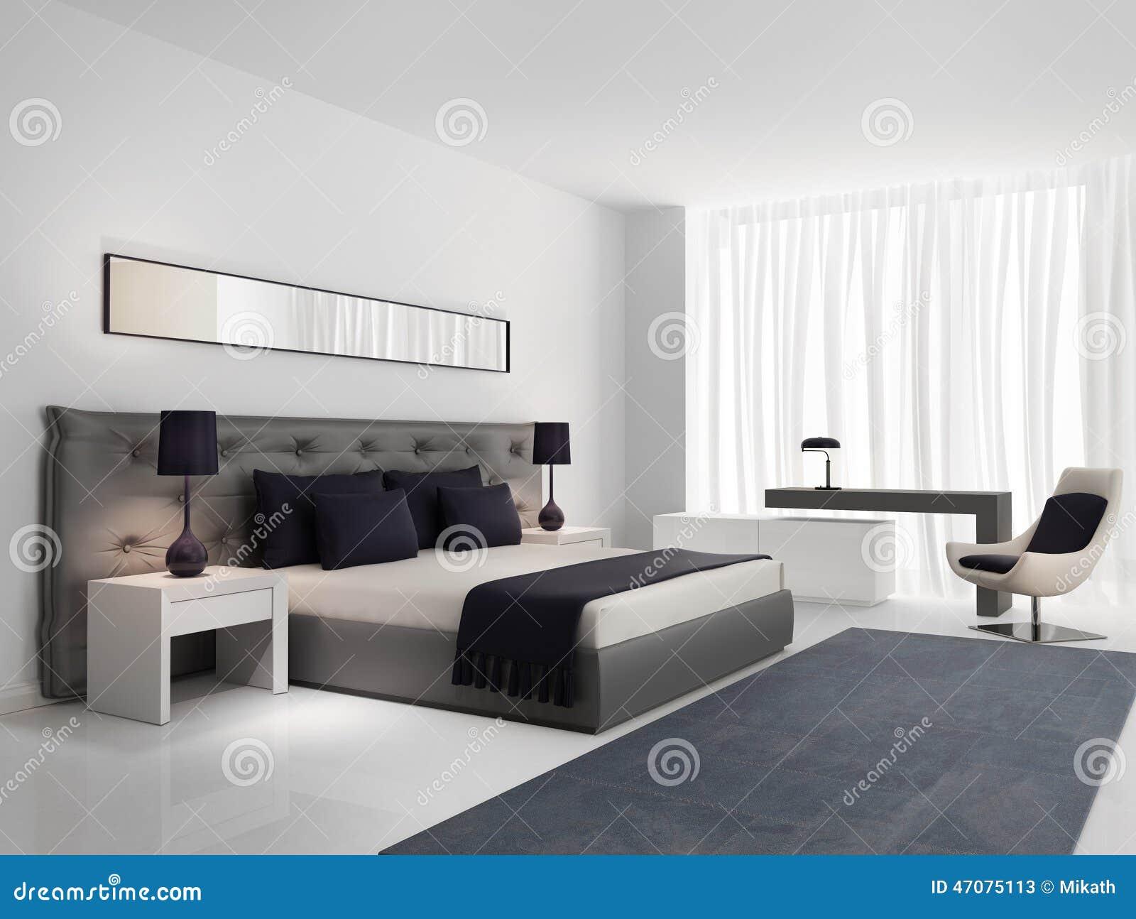 Lyxigt Sovrum Med Grå Färger Knäppas Säng Arkivfoto Bild 47075113