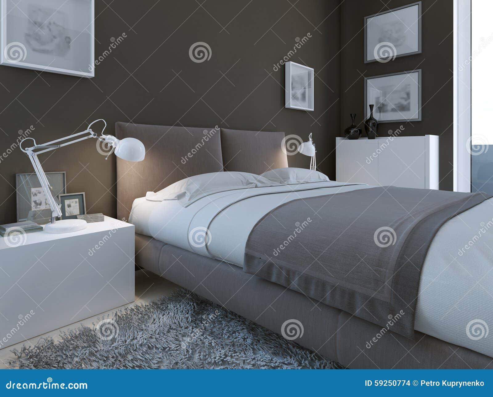 Lyxigt sovrum med mörka väggar stock illustrationer   bild: 59250774