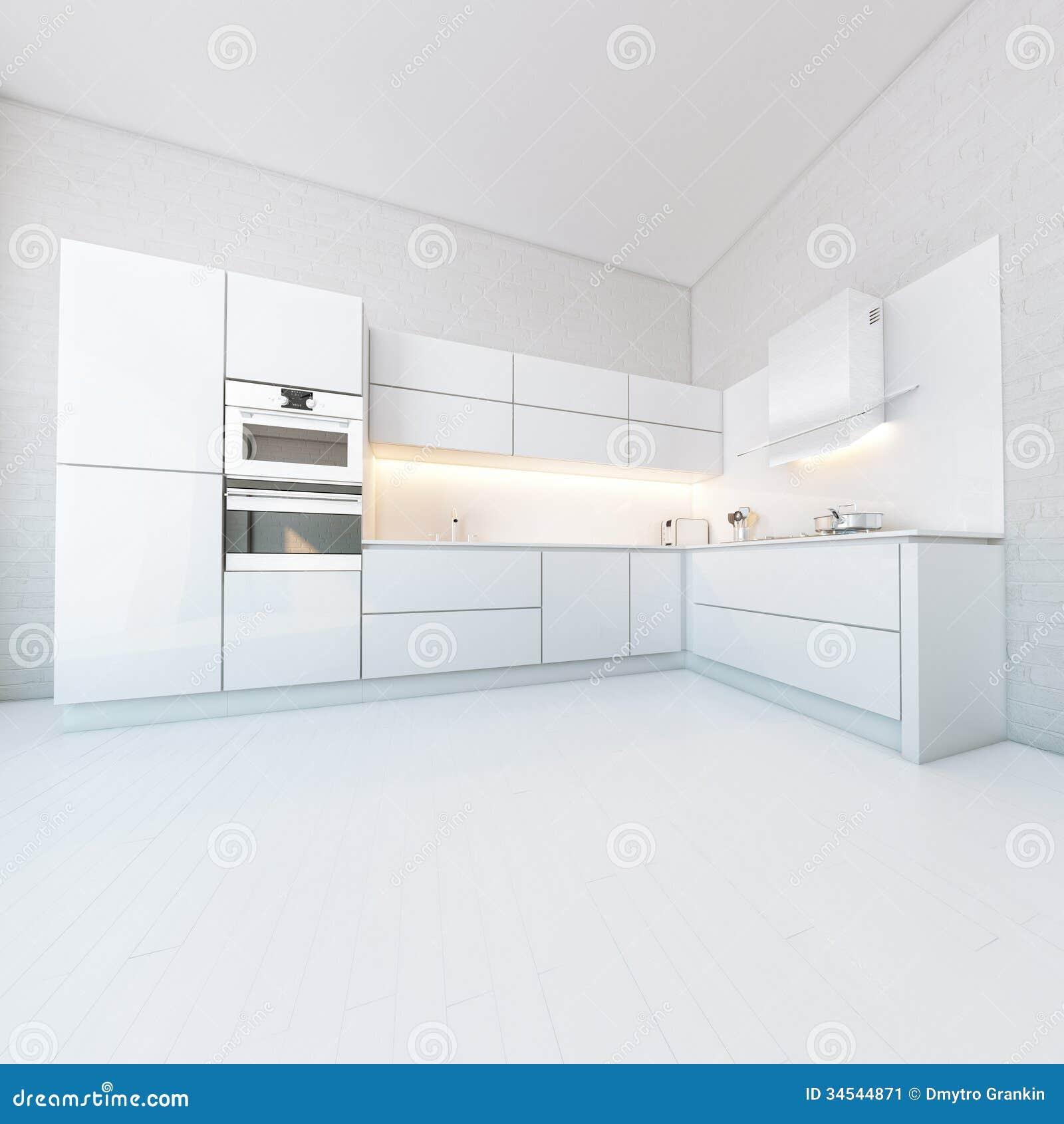 Lyxigt vitt kök i högteknologisk stil fotografering för bildbyråer ...