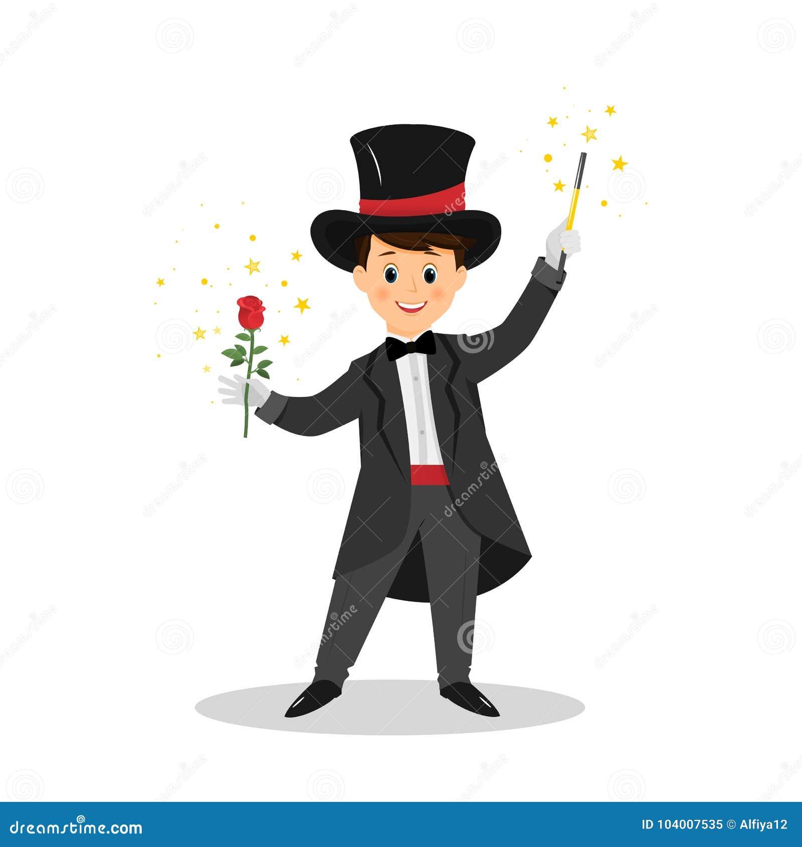 Mágico com chapéu e varinha da mágica