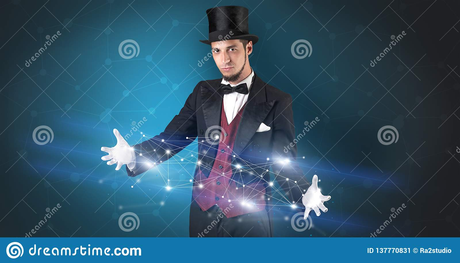 Mágico com conexão geométrica em sua mão
