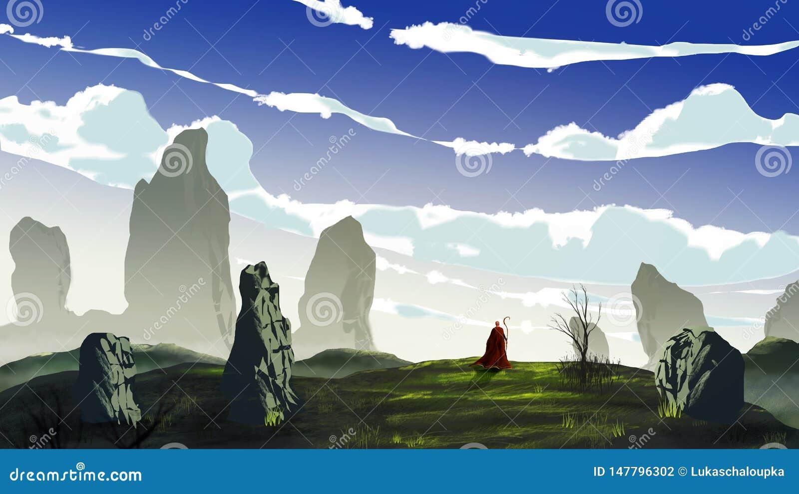 Mágico na caminhada vermelha do revestimento no prado com pedra grande, árvore e o céu nebuloso Pintura de Digitas, rendi??o 3D