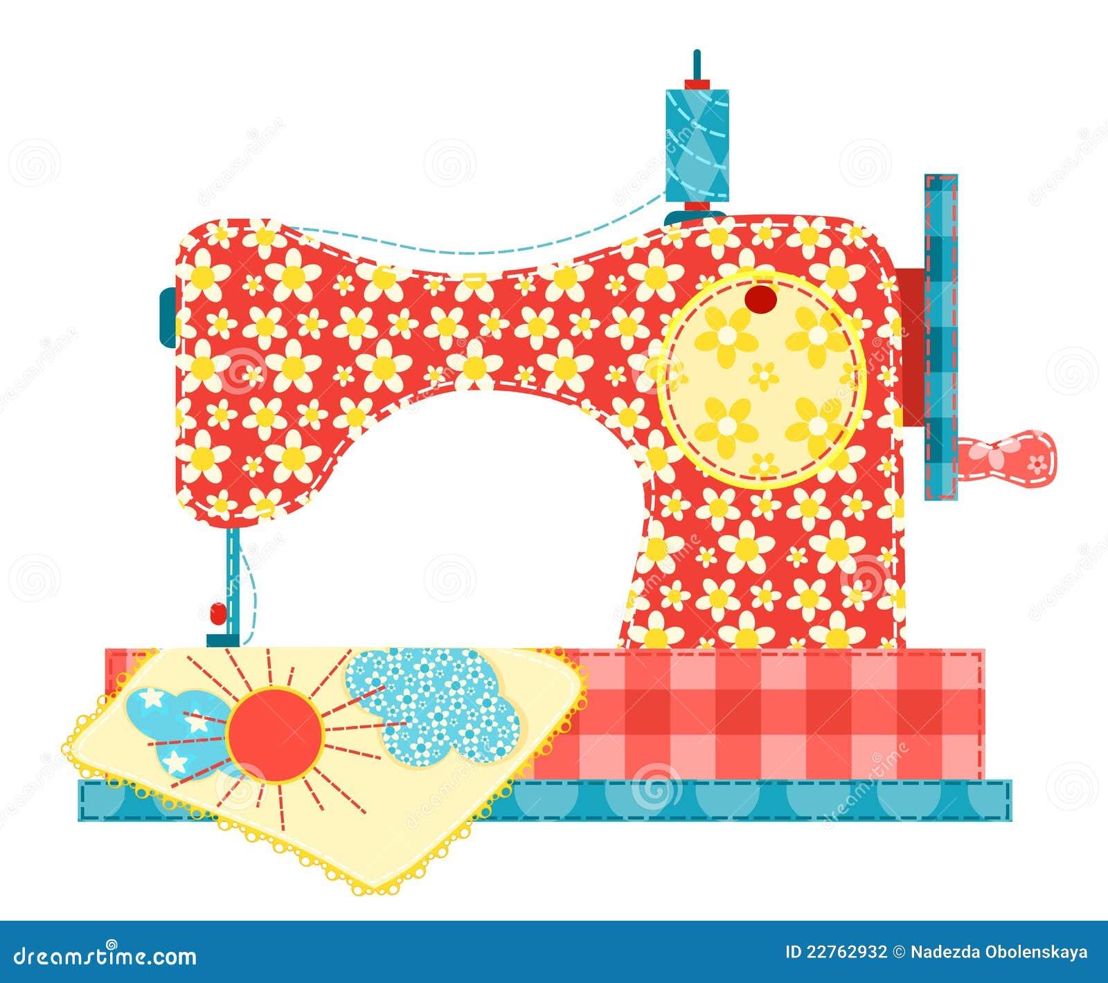 Máquina de coser en blanco.