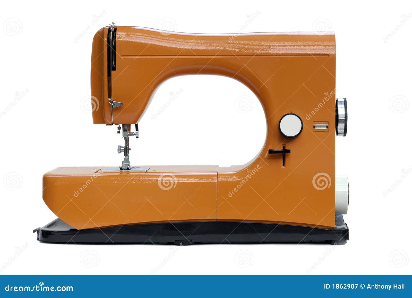 Máquina de costura alaranjada brilhante