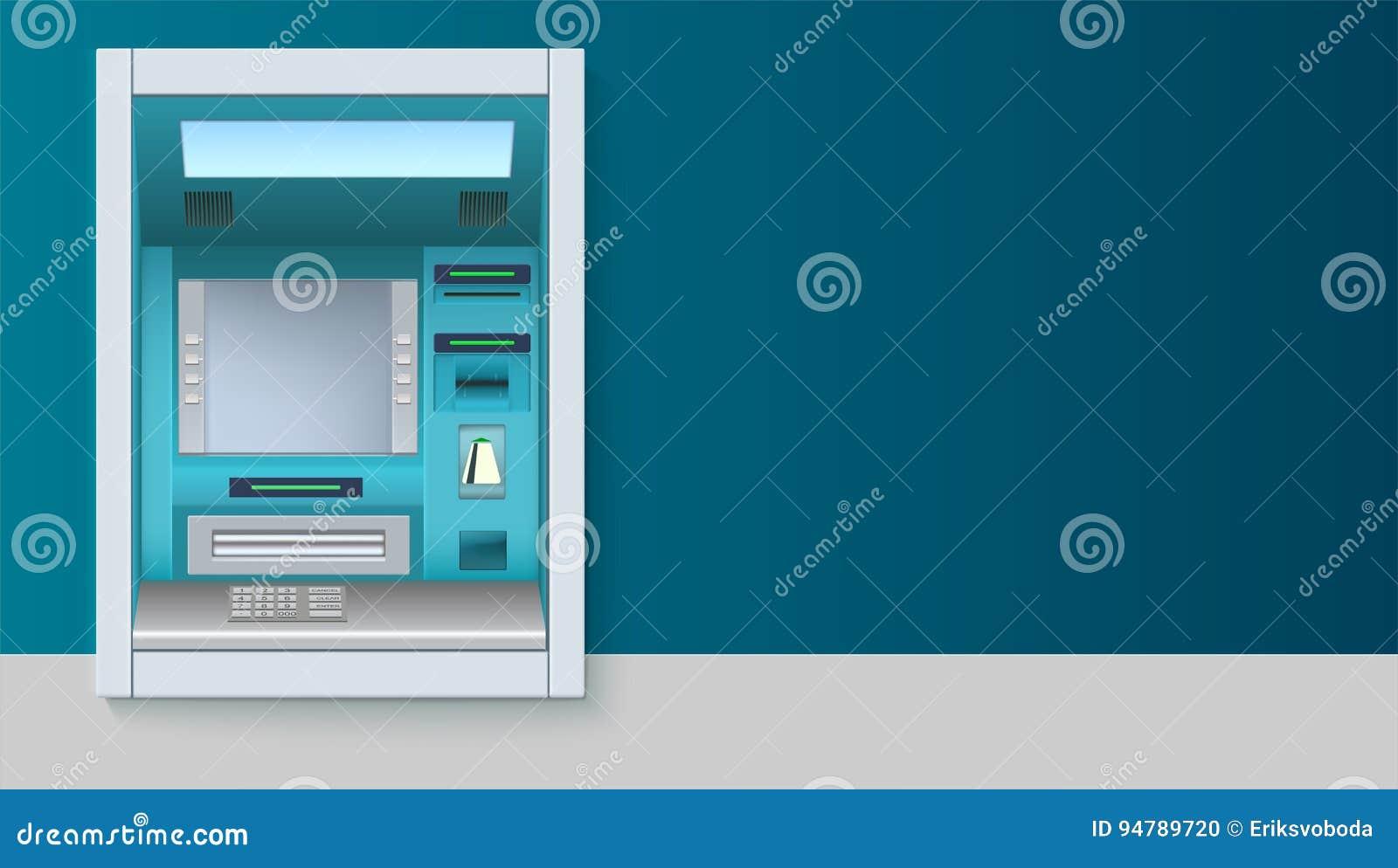 Máquina de dinheiro do banco ATM - Máquina de caixa automatizado com tela vazia e detalhes com cuidado tirados no contexto branco