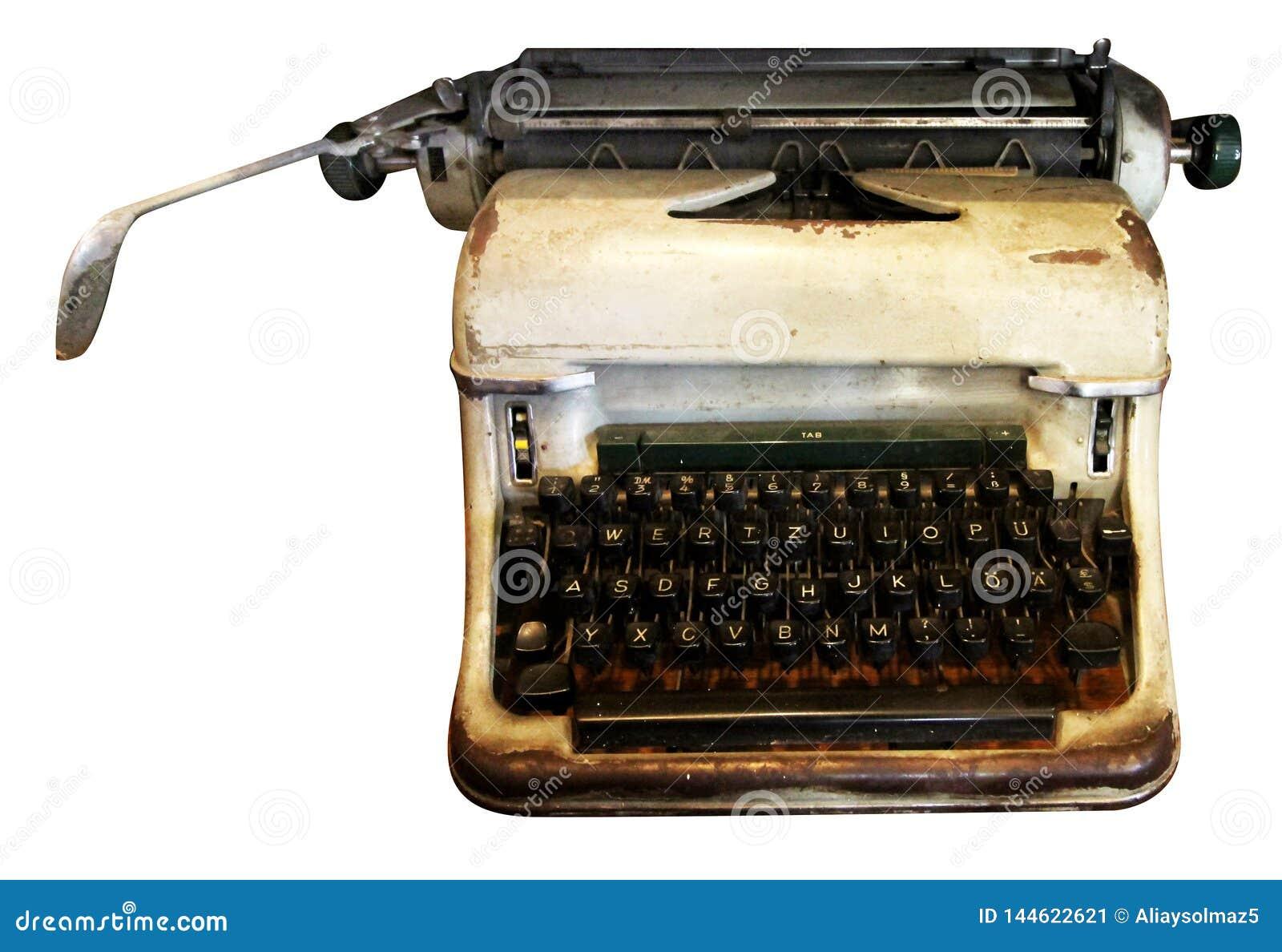 Máquina de escrever isolada, máquina de escrever antiga, equipamento análogo
