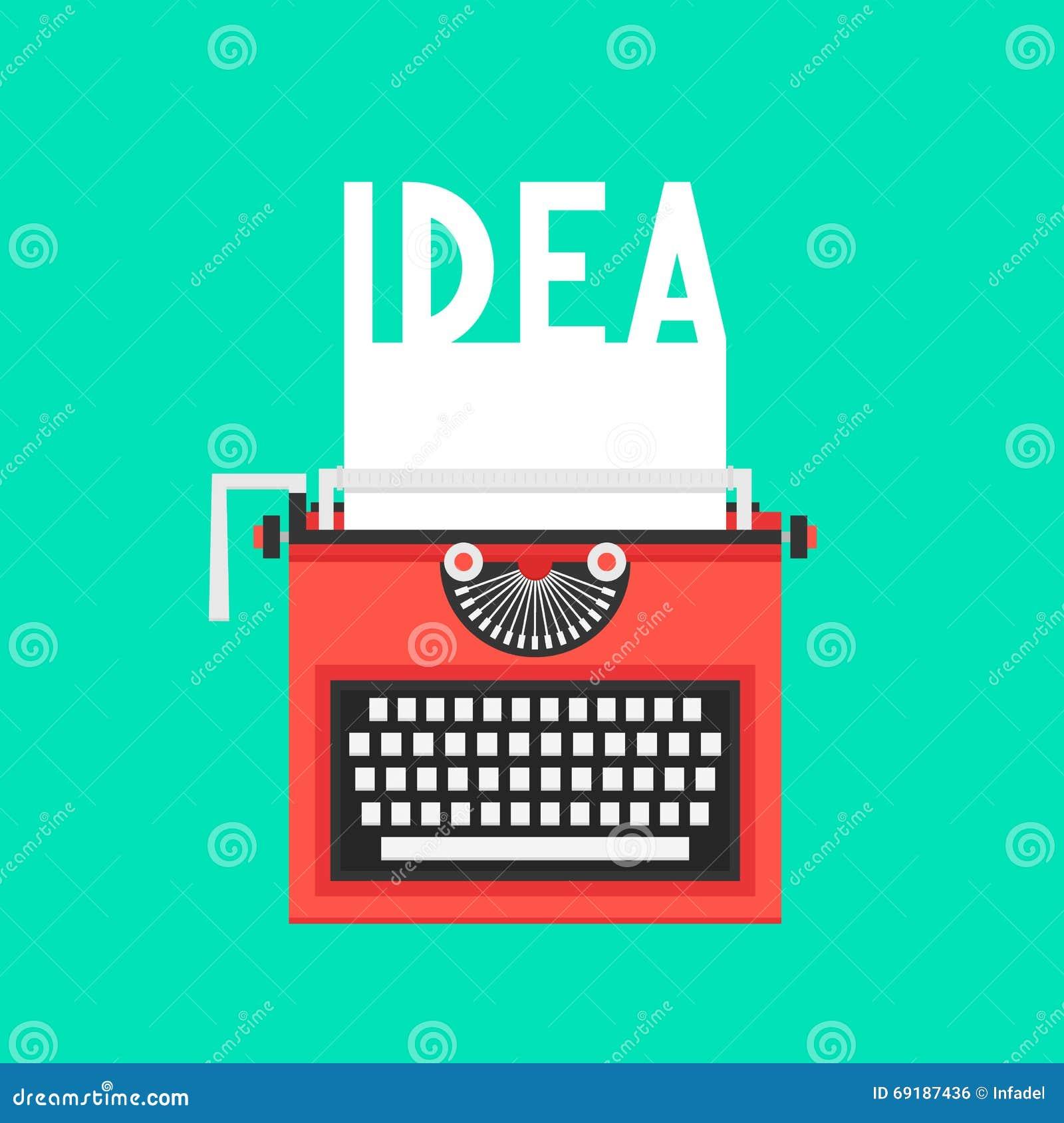 Máquina de escribir con el texto de la idea en la hoja blanca