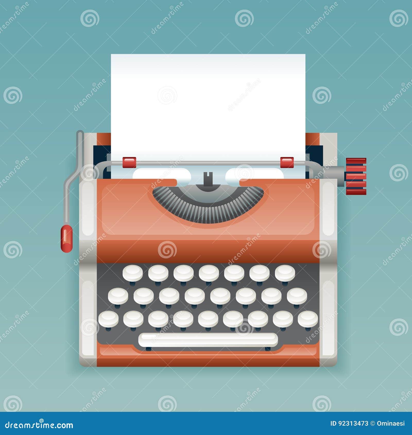Máquina de escribir manual del vintage retro con el diseño plano en blanco de Icon Realistic 3d del periodista de Mass Media Pres