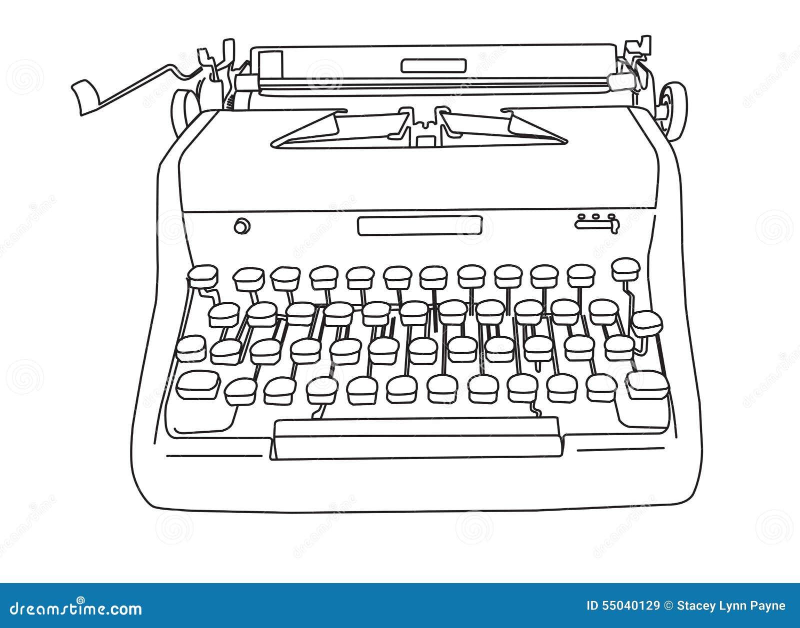 Como Dibujar La Maquina Voladora: Máquina De Escribir Retra Dibujada Mano Stock De