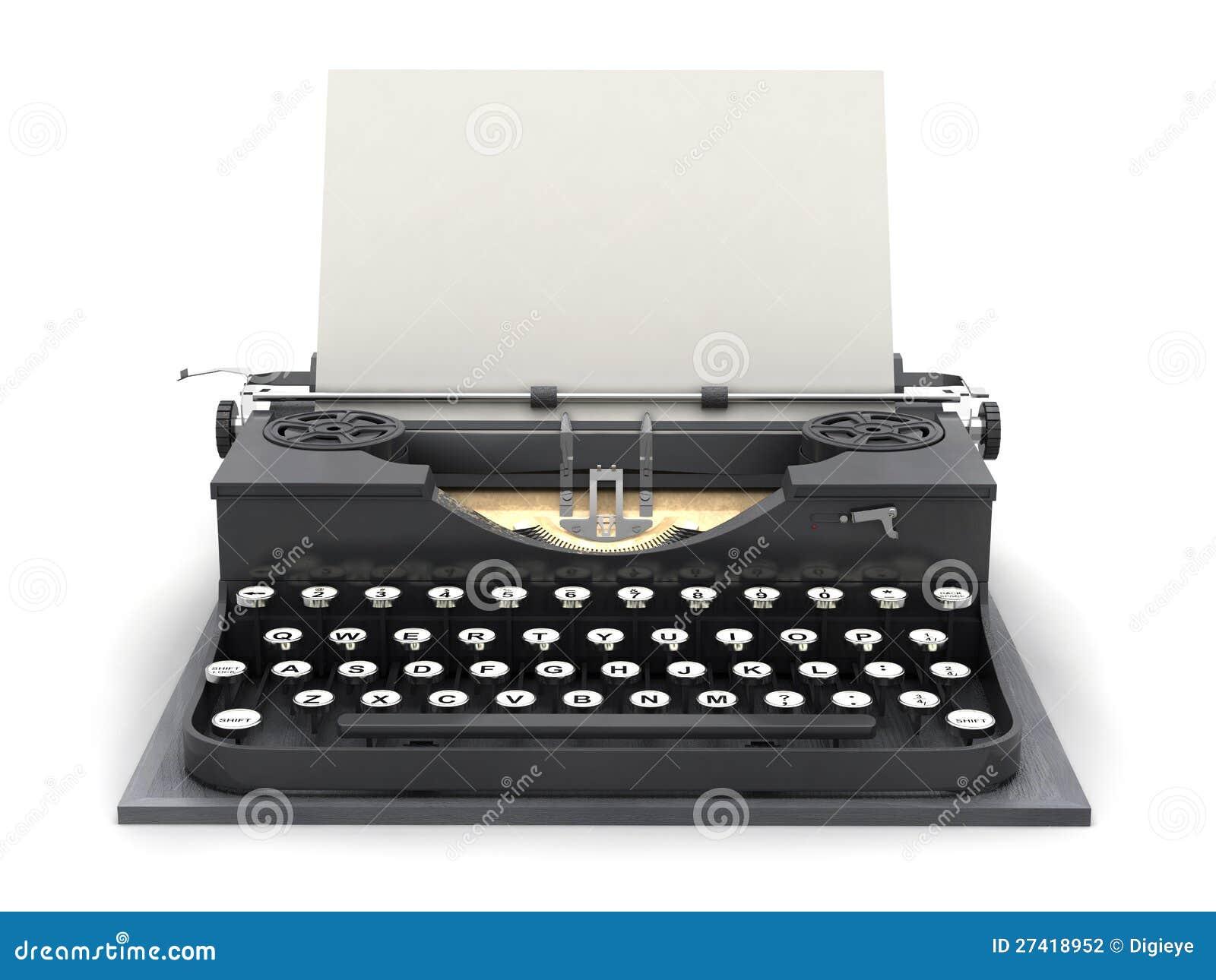 Máquina de escribir retra y hoja en blanco