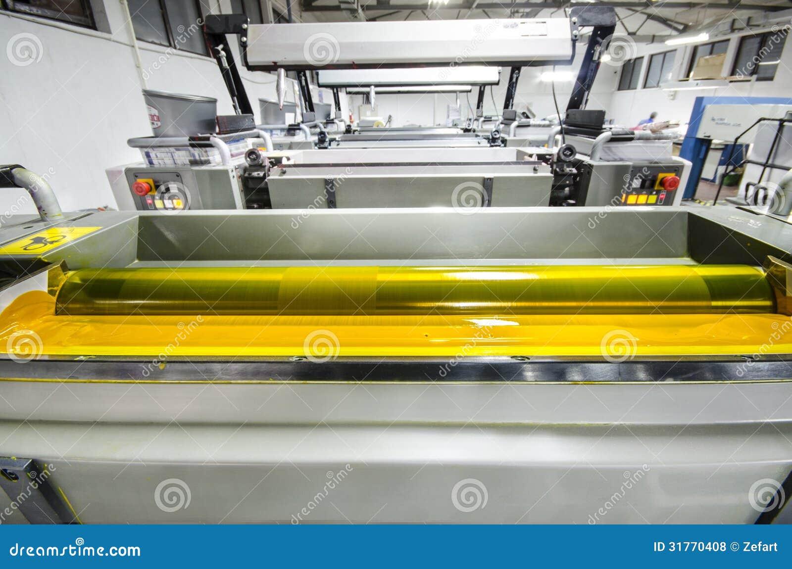 Máquina de la prensa de la impresión de color cuatro, rodillo amarillo de la tinta del color