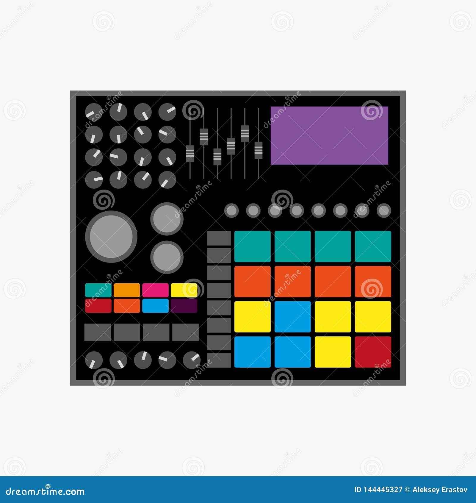 Máquina de ritmos Ilustração do vetor Ícone liso, logotipo