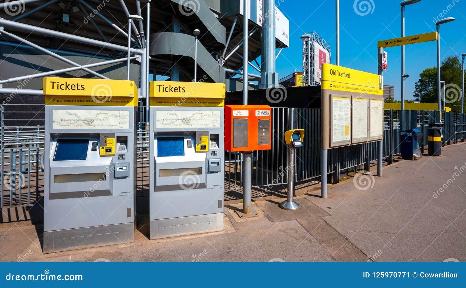 Máquina de venda automática do bilhete para Manchester Metrolink