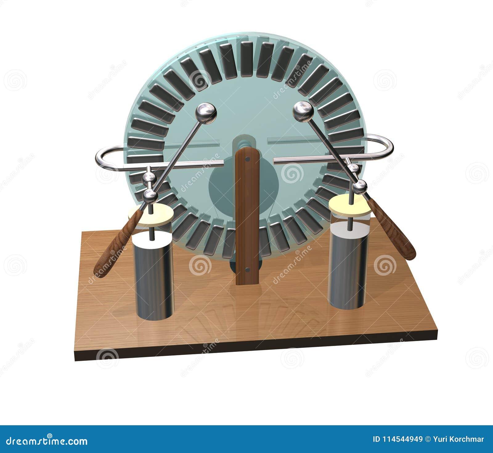 Máquina de Wimshurst con dos tarros de Leiden ejemplo 3D del generador electrostático Física Experimento de las salas de clase de