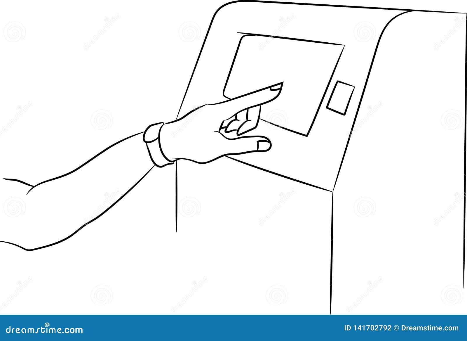 Máquina del cajero automático del vector con el accesorio Terminal para el pago La mano con una pulsera de la aptitud se incluye