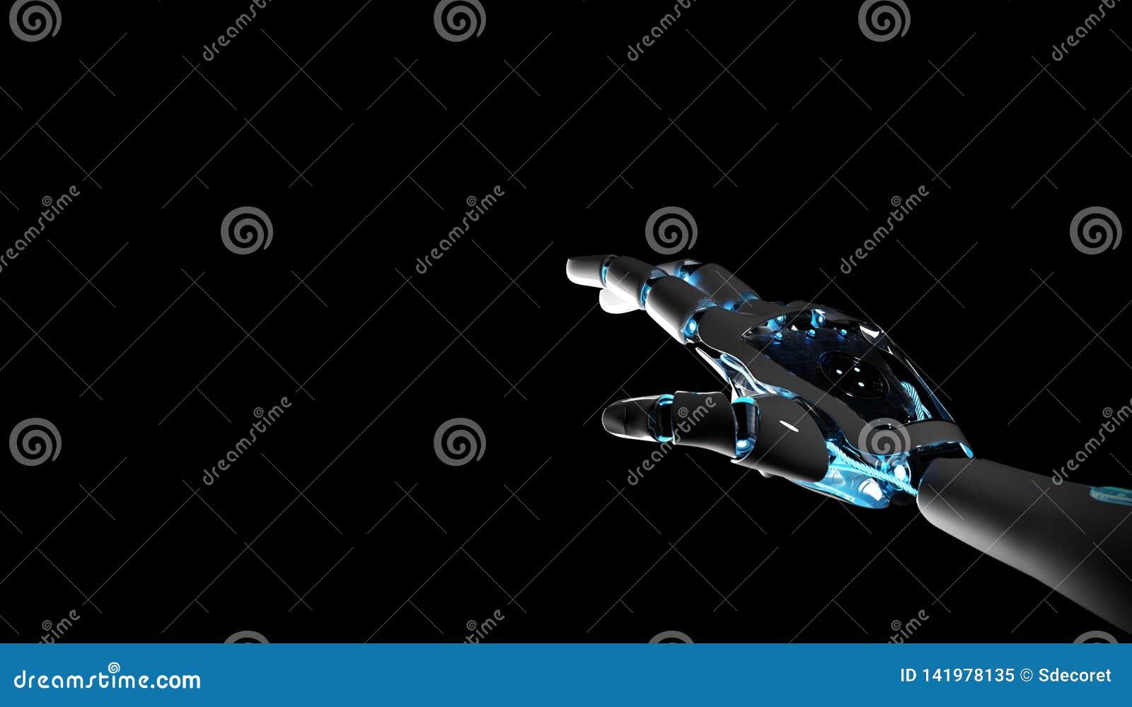 Máquina do robô inteligente que aponta a rendição do dedo 3D