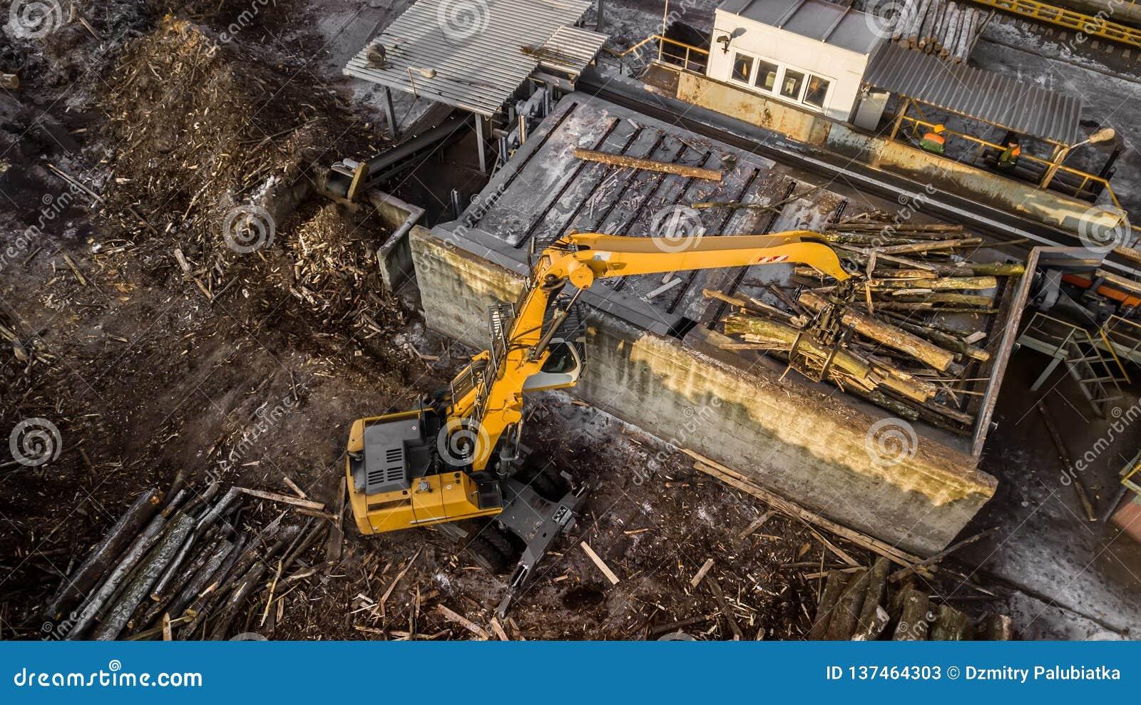 A máquina está levantando a madeira serrada em uma fábrica de madeira Opinião do olho do ` s do pássaro