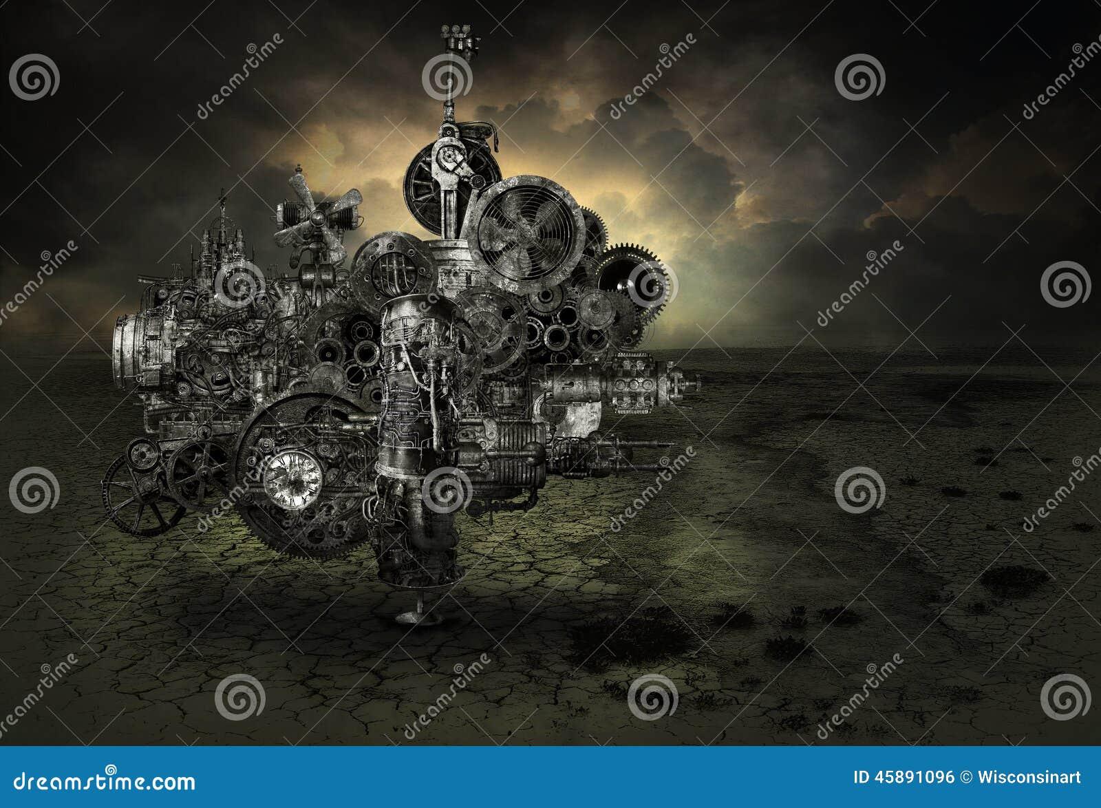 Máquina industrial de la fábrica de Steampunk
