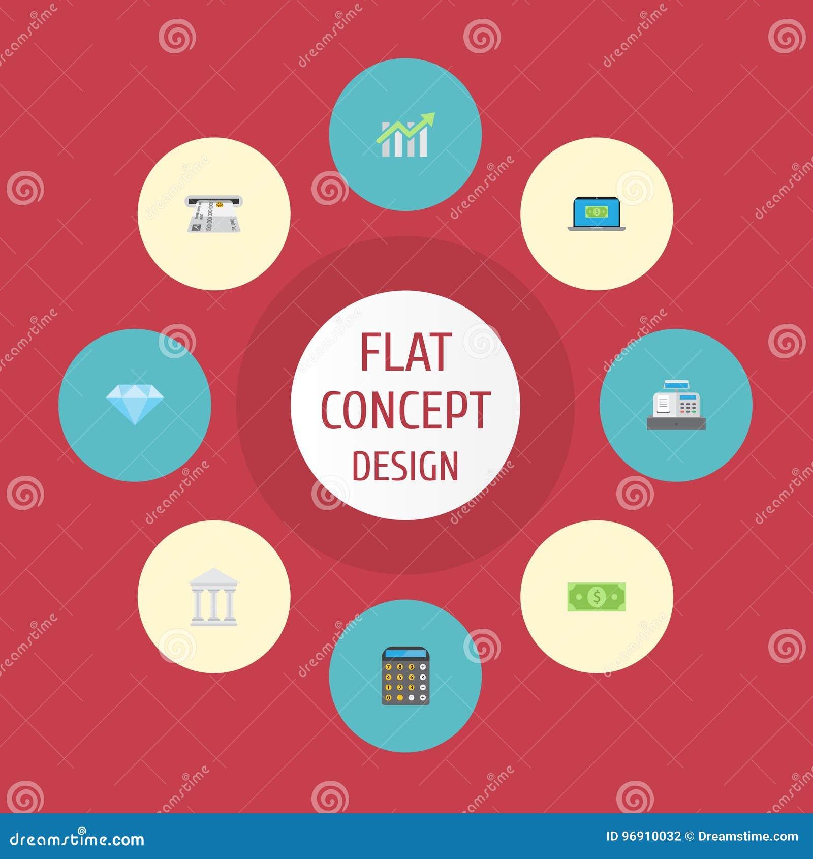 Máquina plana de la caja de los iconos, banco, Till And Other Vector Elements El sistema de símbolos planos de los iconos de las
